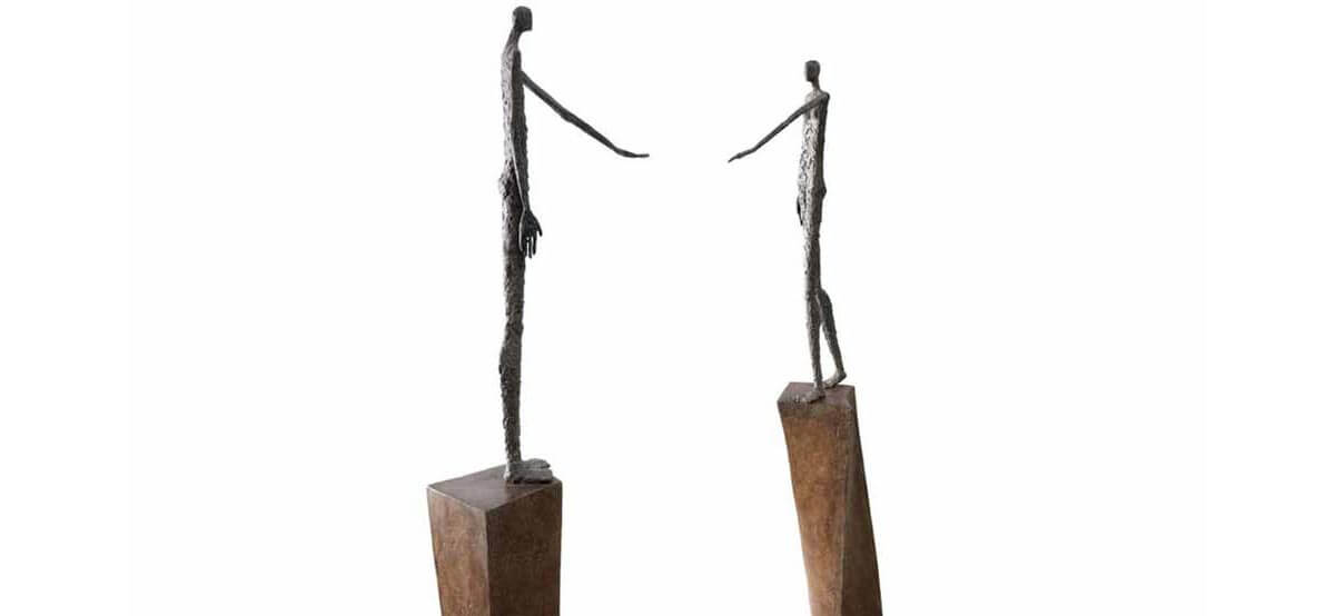Finding soul mate II bronze sculpture by French sculptor Val - Valérie Goutard - with Sculptureval