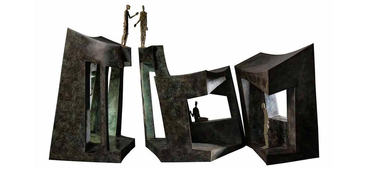 Home sweet home bronze sculpture by French sculptor Val - Valérie Goutard - with Sculptureval