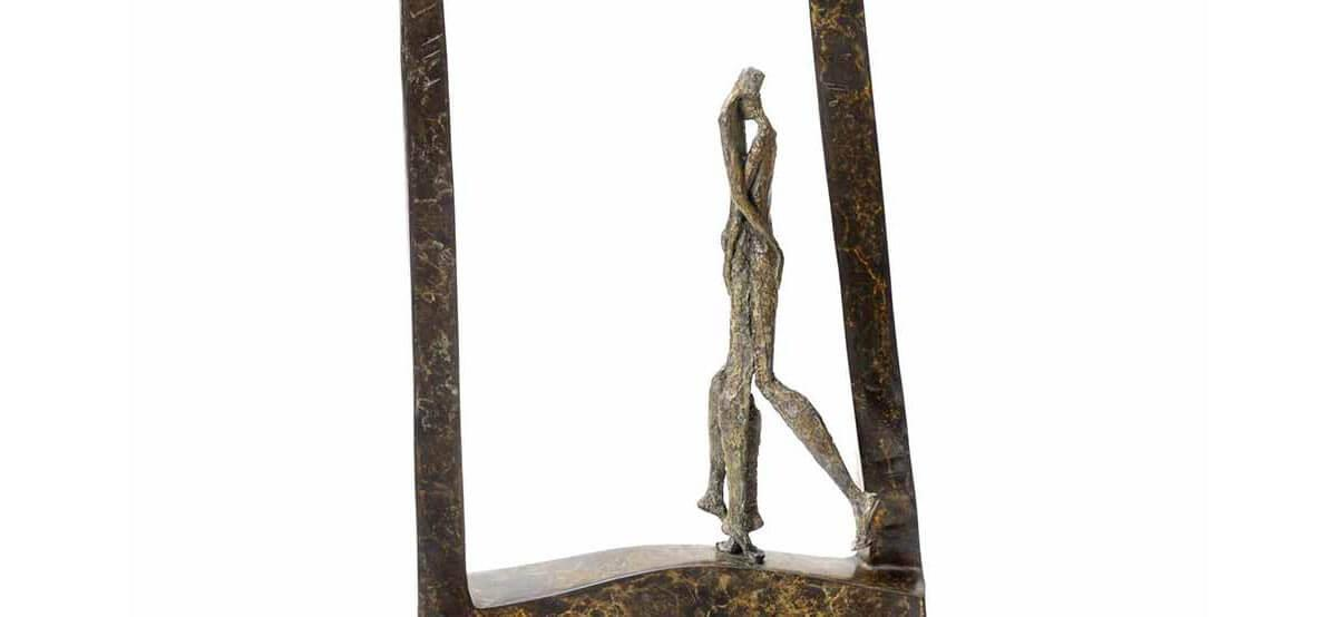 Tango II  bronze sculpture by French sculptor Val - Valérie Goutard - with Sculptureval