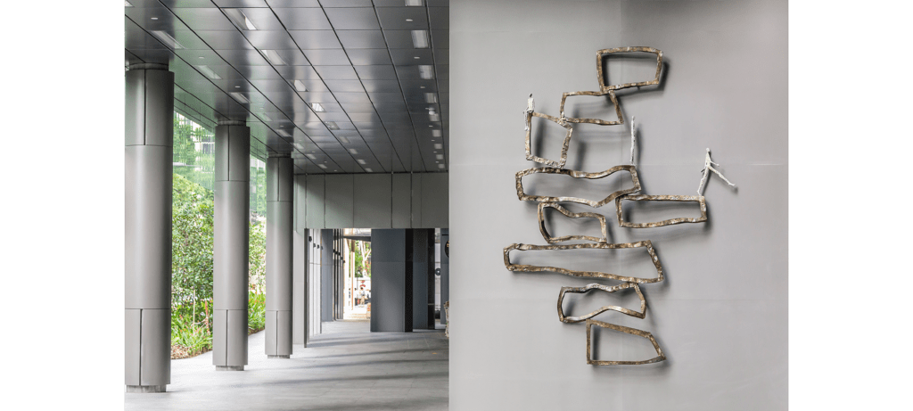Inéquilibre by French sculptor Val - Valérie Goutard - with Sculptureval at SkySuite Tower in Anson in Singapore